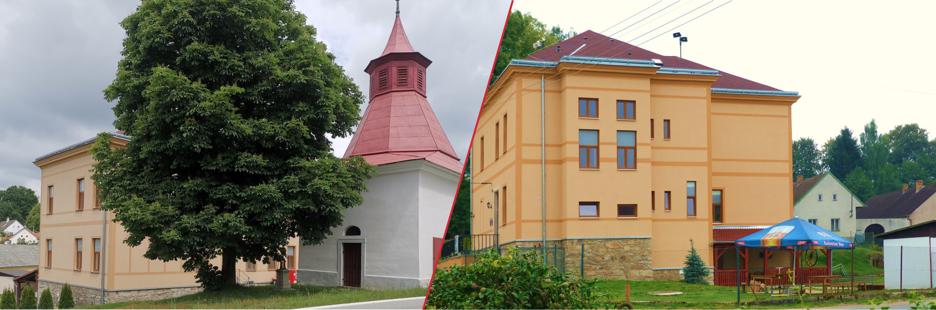 Pohled na obecní úřad a kapličku v Nové Olešné